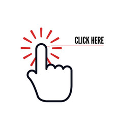 Hand cursor with animation action and text vector