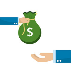 hand with bag money giving to other person hand vector image