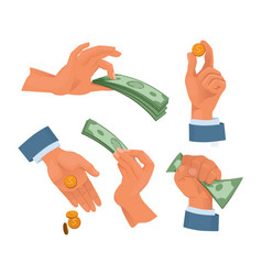 hands holding money set in cartoon style vector image