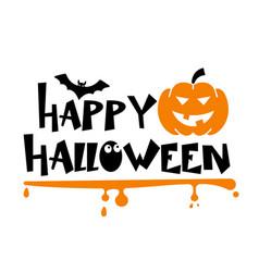 happy halloween with bat vector image