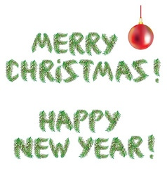 Happy New Year and Merry Christmas tree vector image