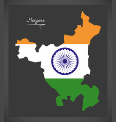 Haryana map with indian national flag vector