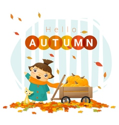 Hello autumn background with little girl 3 vector