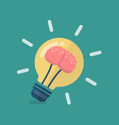 human brain in lightbulb idea vector image