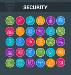 Icons set on security vector