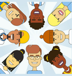 International multicultural people circle vector