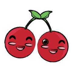 Kawaii cherries icon vector
