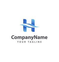 letter h wave logo design template vector image
