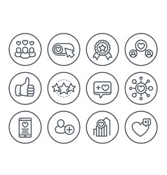 likes followers hearts rating line icons vector image