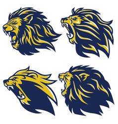 lion head logo set mascot vector image