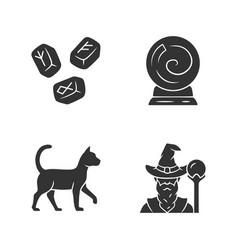 Magic glyph icons set runestones fortune telling vector