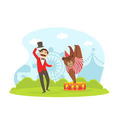 magician and cute bear performing in amusement vector image