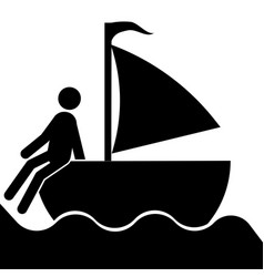 man on the boat icon vector image