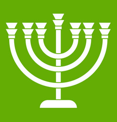 Menorah icon green vector