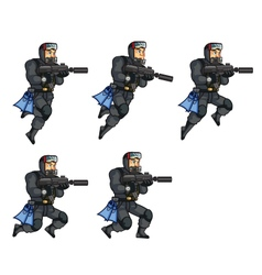 Navy Seal Jumping Sprite vector