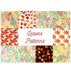 Orange autumn fallen leaves seamless patterns set vector