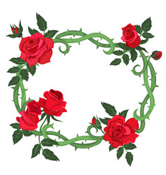Oval frame thorns and red roses isolated on a vector