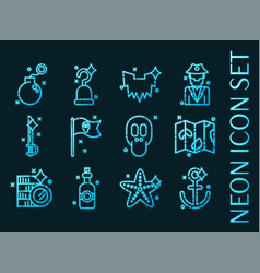 Piracy set icons blue glowing neon style vector