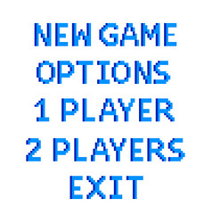 pixel game menu options text detailed isolated vector image