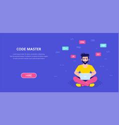 Programmer man character design flat style vector
