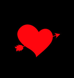 Red heart pierced with arrow on black background vector