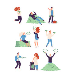 Rich people wealthy happy persons with money vector