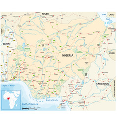 Road map west african state nigeria vector