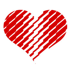 scratched heart icon simple style vector image