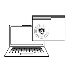security system technology in black and white vector image