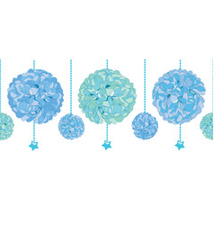 Set of hanging blue bay boy birthday party vector