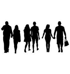Set of people holding hands vector