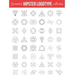 set vintage geometric hipster retro labels vector image