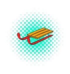 Sleigh icon comics style vector
