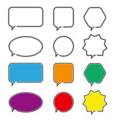 Speech bubble icons outline symbol for web design vector