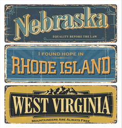 State us nebraska virginia rhode island vector