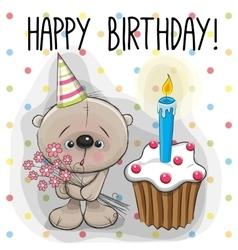 Teddy Bear with cake vector