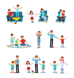 Tired parents and their children set exhausted vector