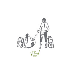 tourists on hike concept sketch isolated vector image