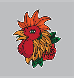 traditional chicken flash tattoos vector image