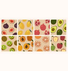 Trendy set minimalistic summer tropical fruit vector
