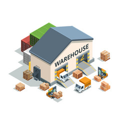 Warehouse building trucks and load machines vector
