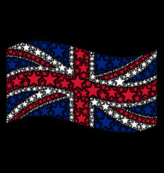 Waving uk flag collage of five-pointed star icons vector