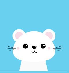 white animal cute kawaii cartoon character funny vector image