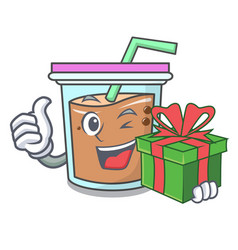 With gift bubble tea mascot cartoon vector