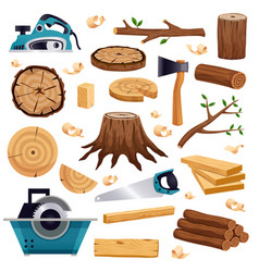 Wood industry flat set vector