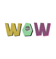 Wow lettering vector