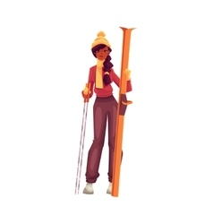 Young black woman with ski and poles vector image