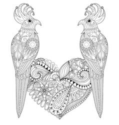 Exotic tropical zentangle bird lovely couple for vector image
