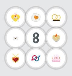 Flat icon heart set of fire wax scrambled vector