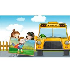 kids and school bus vector image
